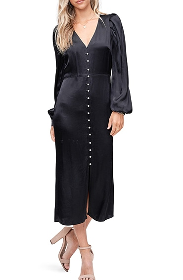 EN SAISON satin midi dress | 40plusstyle.com