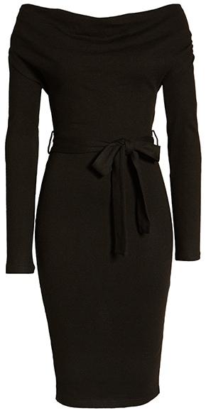 Lavish off the shoulder cocktail dress | 40plusstyle.com