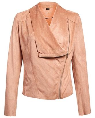 BLANKNYC drape front suede jacket | 40plusstyle.com