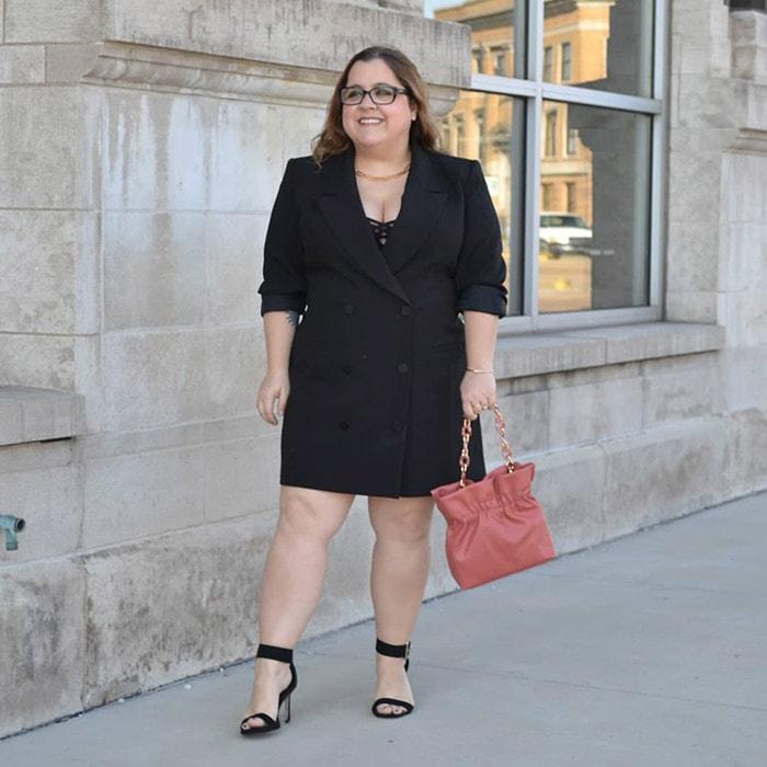 Perfect little black dress for petites - Cassie wears a black blazer dress   40plusstyle.com