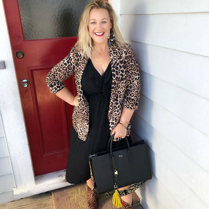 Perfect little black dress - Emma pairs her black dress with leopard print | 40plusstyle.com