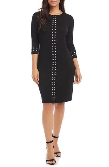 Karen Kane studded sheath dress   40plusstyle.com
