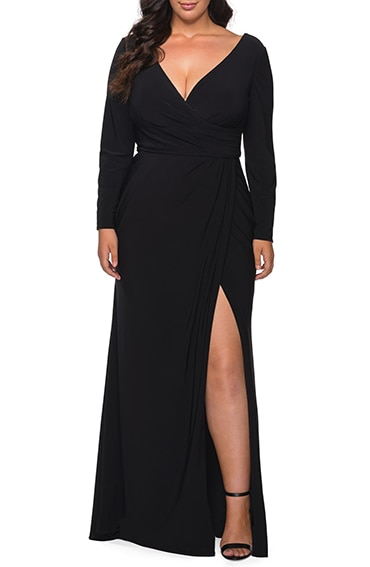 Le Femme faux wrap gown | 40plusstyle.com