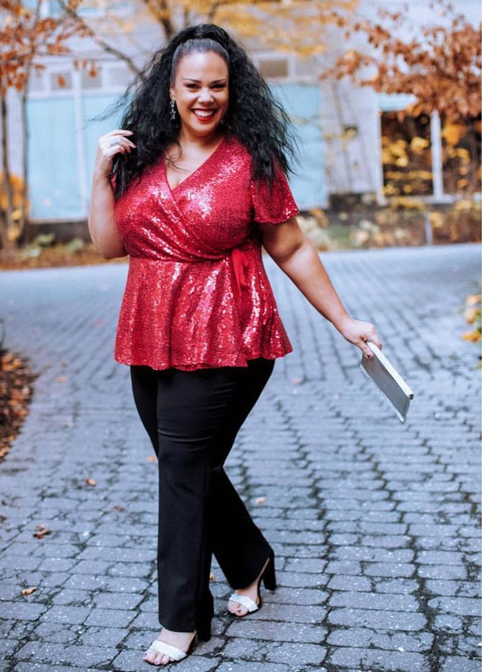 New Year's Eve outfits - Madeline in a red sequin top | 40plusstyle.com
