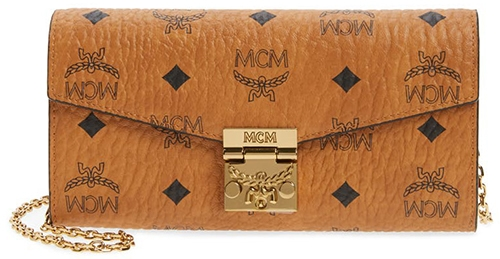 MCM coated canvas wallet on a chain | 40plusstyle.com