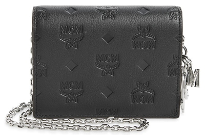 MCM Klara monogram leather wallet on a chain | 40plusstyle.com