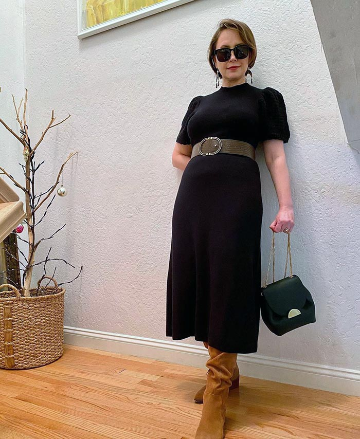 How to find your style - Oxana in a sweater dress and boots   40plusstyle.com