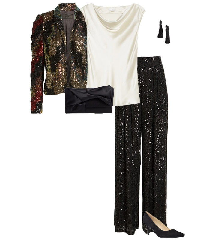A sequin blazer and pants as a New Year's Eve outfit idea | 40plusstyle.com