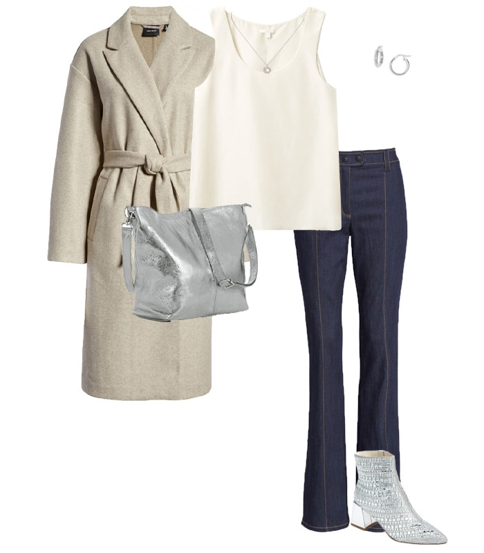 NYE outfit idea - a cozy coat and leg lengthening jeans | 40plusstyle.com