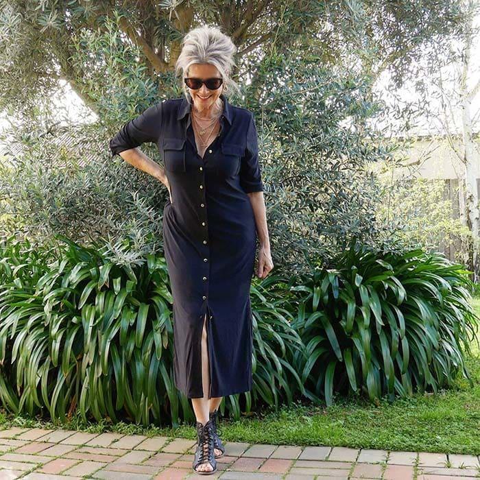 Suzie wears a black shirtdress   40plusstyle.com