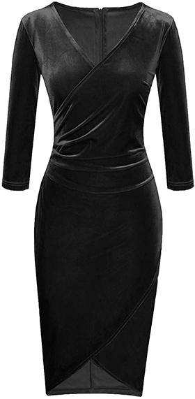Fantaist velvet wrap sheath cocktail pencil dress   40plusstyle.com