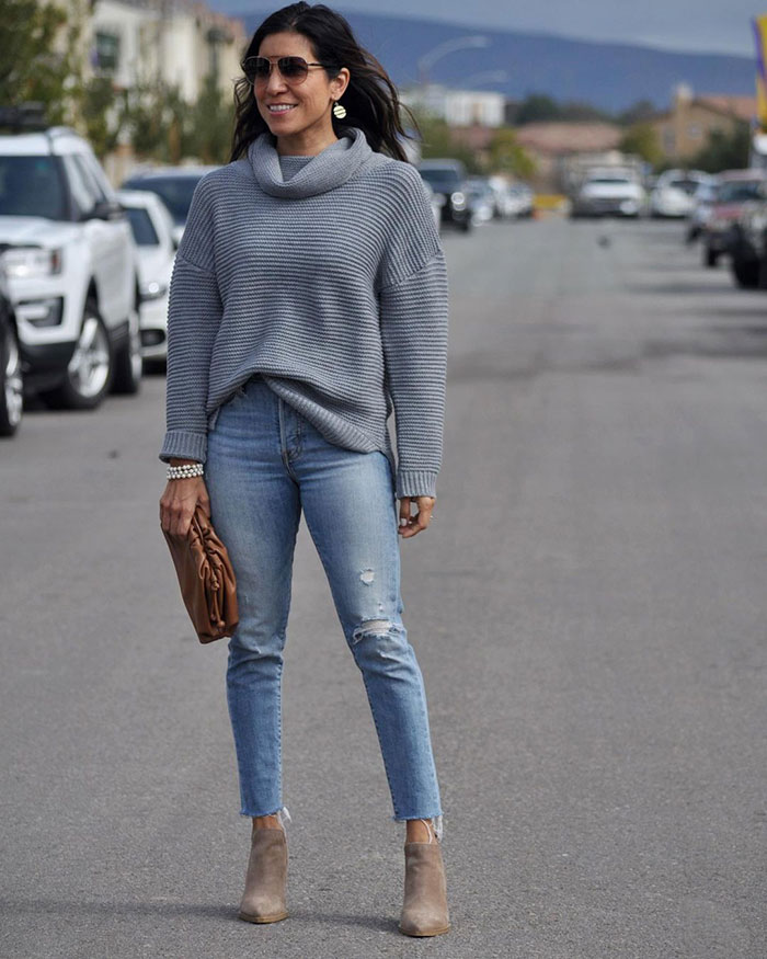 High rise jeans and booties | 40plusstyle.com