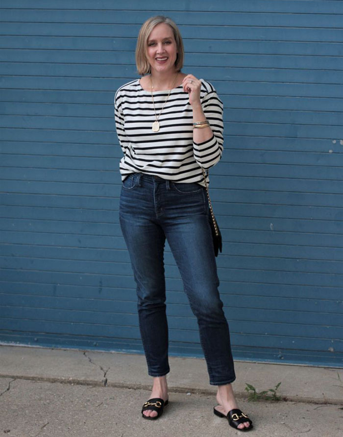 Ashley in stripes and jeans   40plusstyle.com