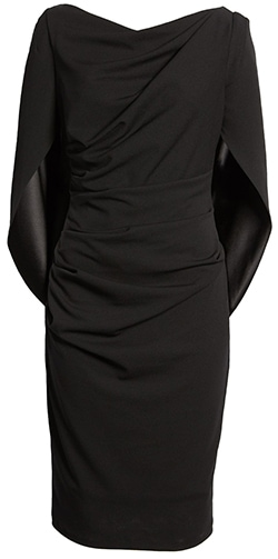 Wardrobe essentials - Betsy & Adam drape back scuba crepe cocktail dress | 40plusstyle.com