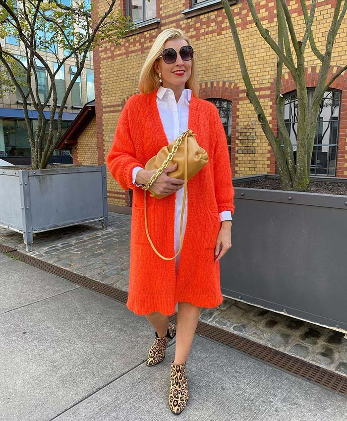 How to dress for Valentine's Day - Nadine wears a red cardigan   40plusstyle.com