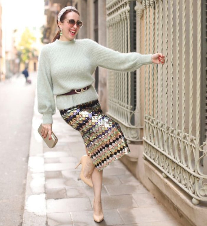 How to dress over 40 - Patricia wears a sequin skirt | 40plusstyle.com