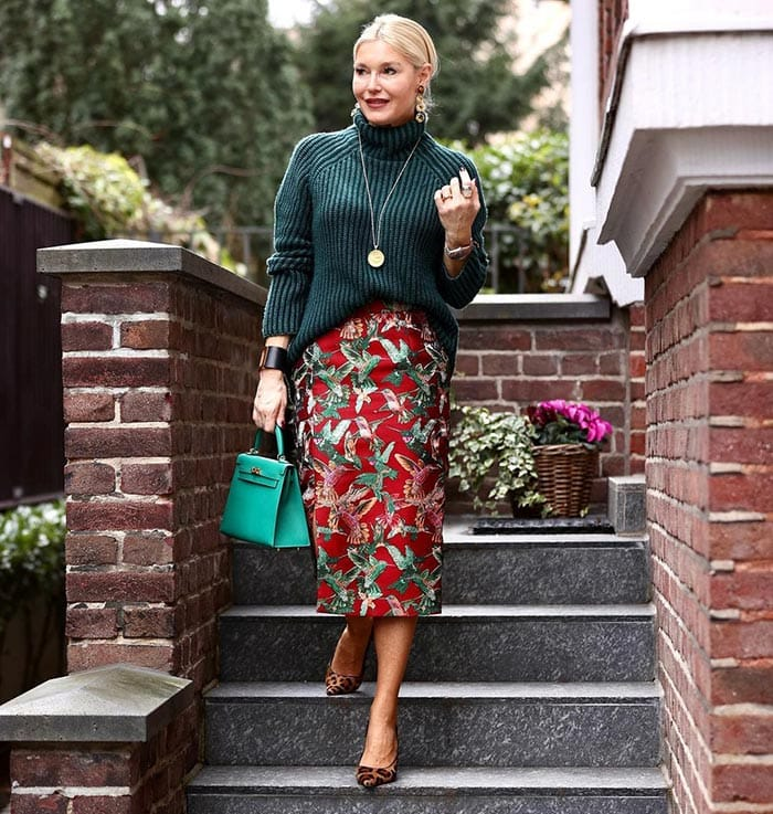 Petra wearing red, green and leopard print   40plusstyle.com