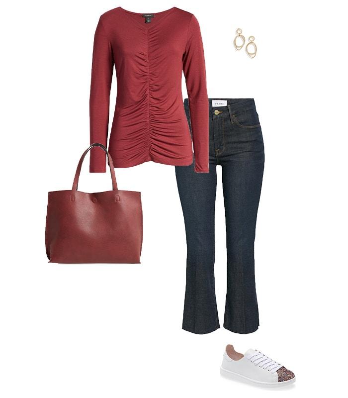 Bootcut jeans outfit idea | 40plusstyle.com