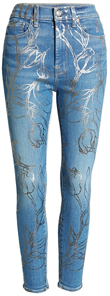 Seven Floral Metallic High Waist Ankle Skinny Jeans | 40plusstyle.com