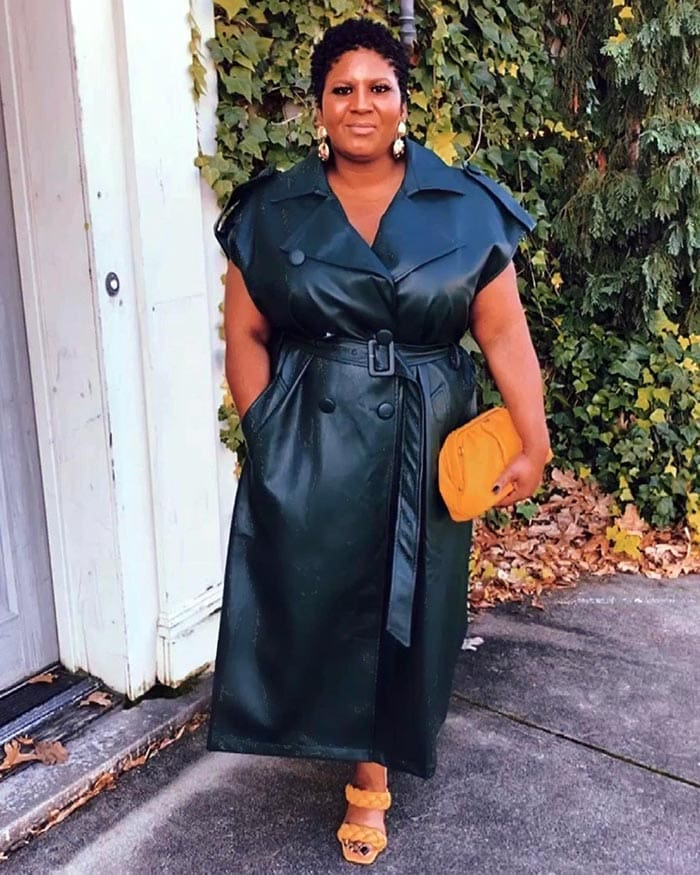 Things that can make you look older - Shameka wears a trendy leather dress | 40plusstyle.com