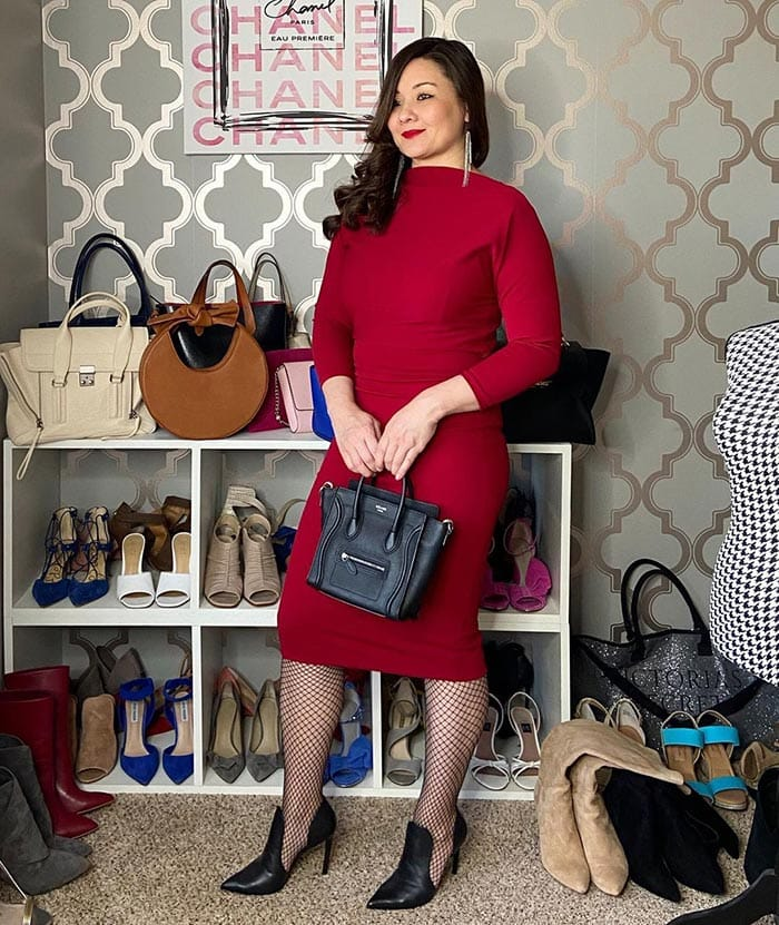 how to dress over 40 - Suzie wears a red dress and cut-out shoes | 40plusstyle.com