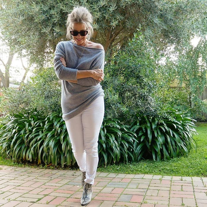 Wearing white jeans for winter | 40plusstyle.com