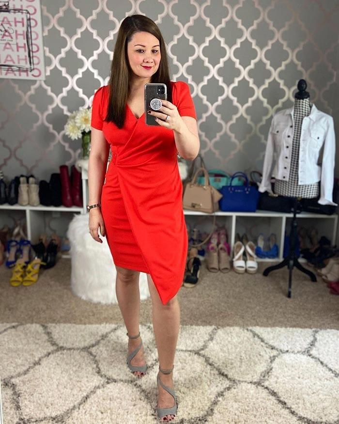 Suzie wears a red wrap dress   40plusstyle.com