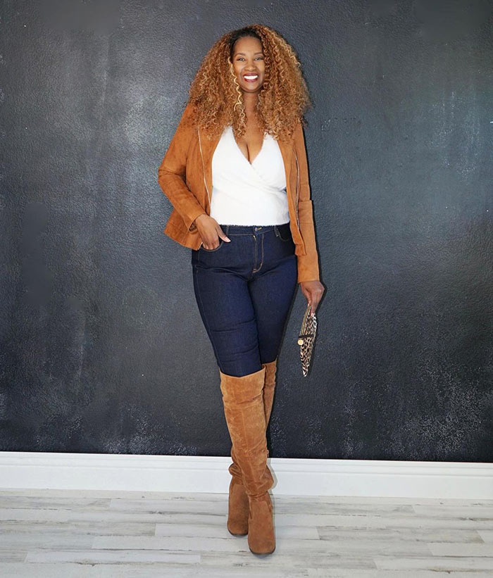 Tanasha wears a tan moto jacket and matching boots | 40plusstyle.com