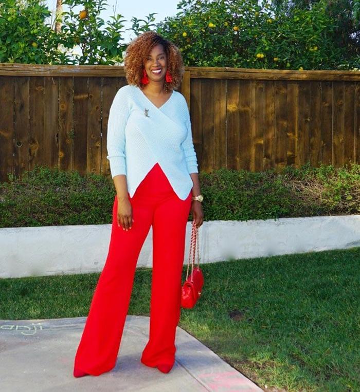 Tanasha wearing red pants   40plusstyle.com