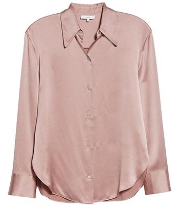 Vince shaped collar silk blouse | 40plusstyle.com