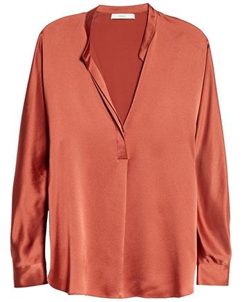 wardrobe essentials - Vince band collar silk blouse   40plusstyle.com