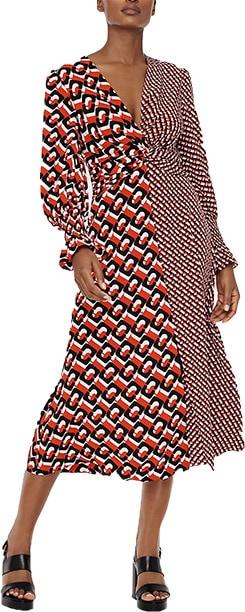 Diane Von Furstenberg Michelle Silk Crepe De Chine Midi Dress   40plusstyle.com   40plusstyle.com