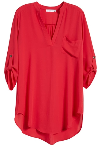 All in Favor roll tab sleeve tunic | 40plusstyle.com