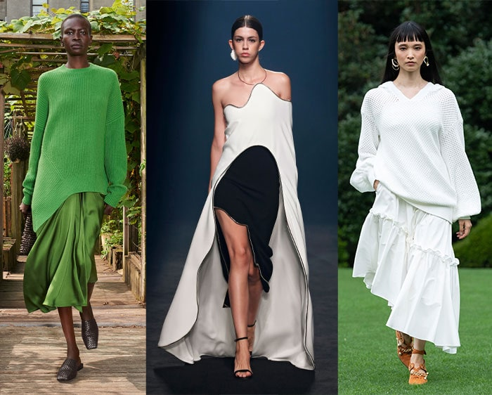Asymmetric styles from the fashion shows | 40plusstyle.com