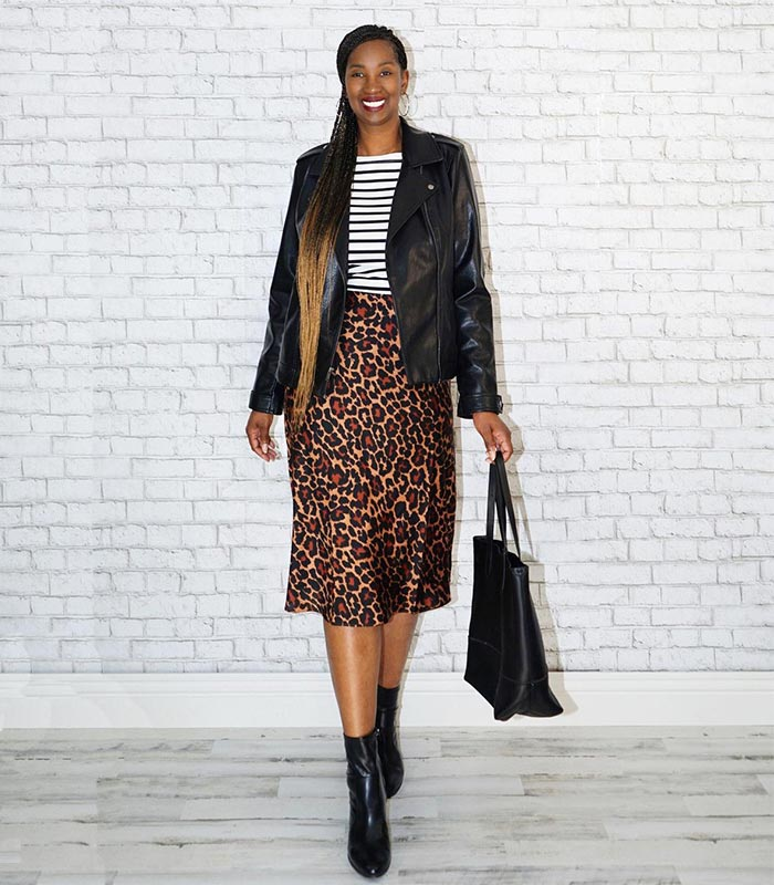 Tanasha matches her bag to her moto jacket | 40plusstyle.com