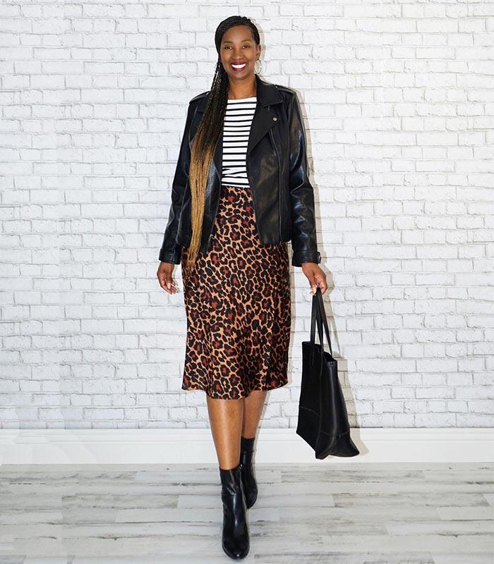 Tanasha matches her bag to her moto jacket | 40plusstyle.com