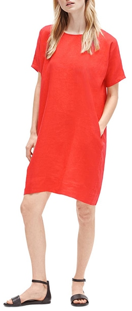 Eileen Fisher Short Sleeve Organic Linen Dress   40plusstyle.com