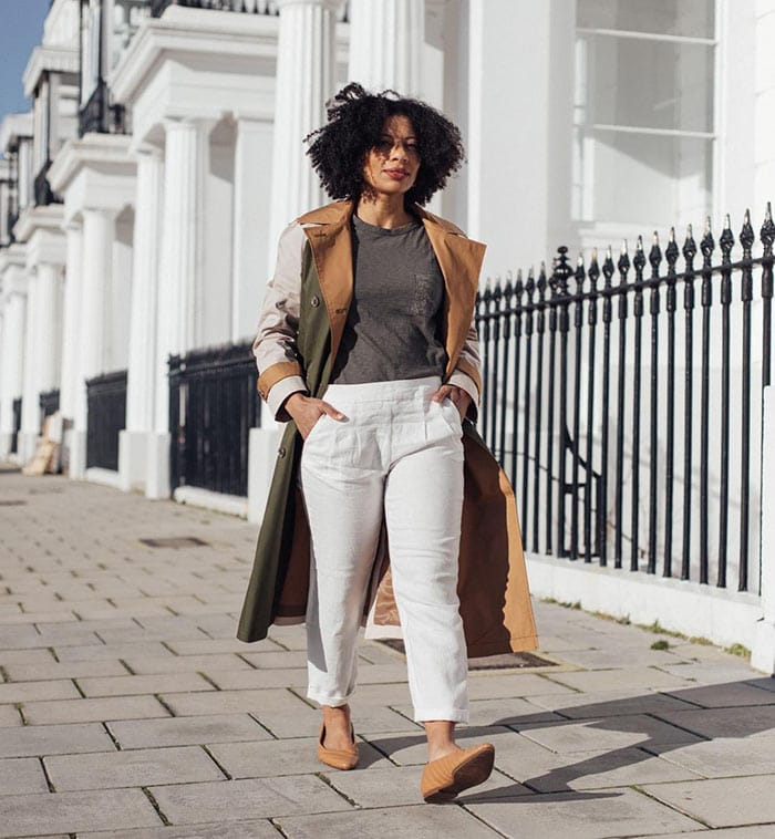 Outfits for spring - Eleanor wears a statement coat | 40plusstyle.com
