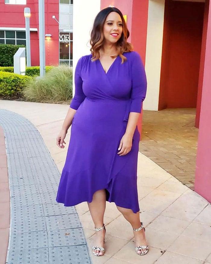 Estrella in a flattering wrap dress | 40plusstyle.com