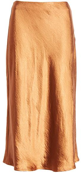 Lulus satin A-line skirt | 40plusstyle.com