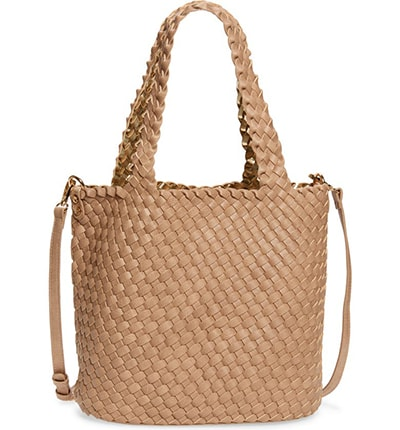 Mali + Lili Ray Reversible & Convertible Woven Vegan Leather Tote | 40plusstyle.com