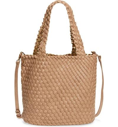 Mali + Lili Ray Reversible & Convertible Woven Vegan Leather Tote | 40plusstyle.com