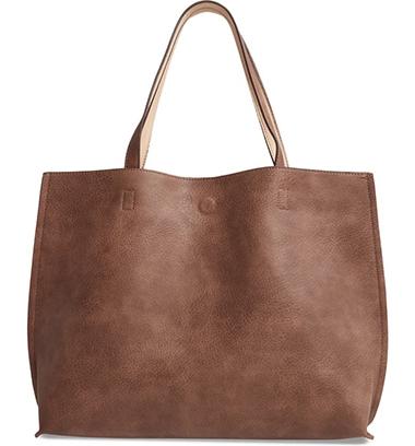 Street Level Reversible Faux Leather bag & Wristlet | 40plusstyle.com