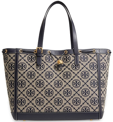Tory Burch T Monogram Jacquard Large Tote | 40plusstyle.com