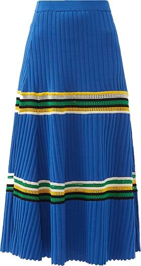 Wales Bonner Saint Ann Crochet Panel Rib Knitted Skirt   40plusstyle.com