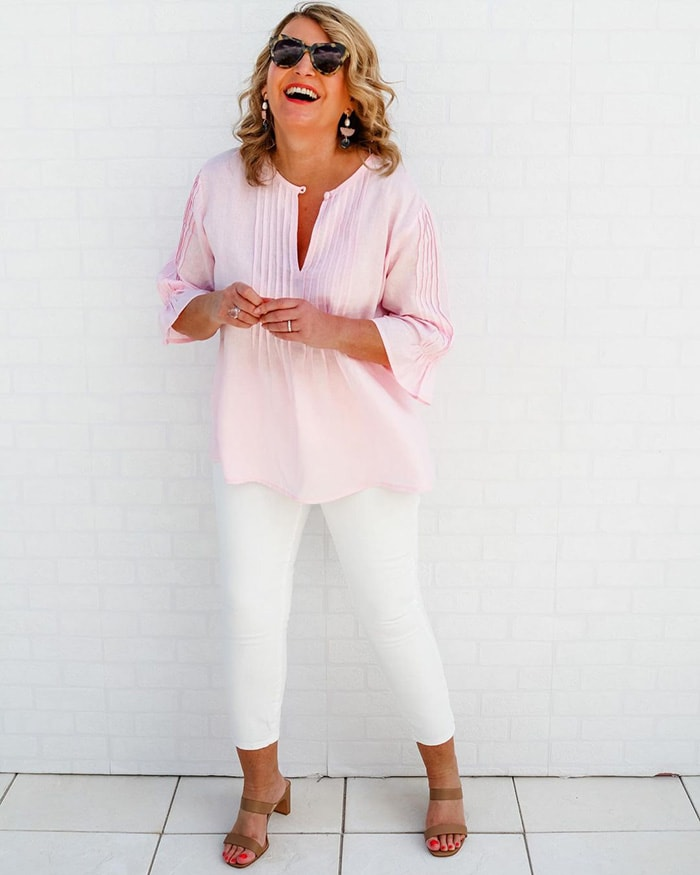 tops to hide your tummy - choose tops which don't cling   40plusstyle.com