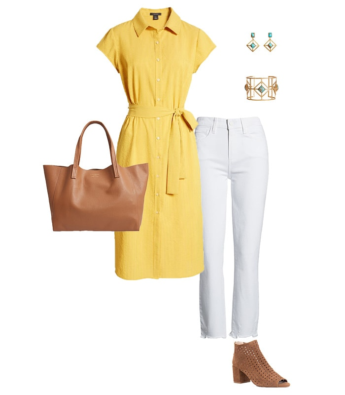 Wearing a dress over pants | 40plusstyle.com