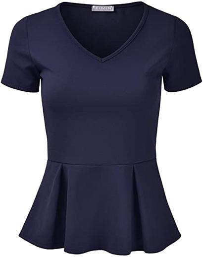 EIMIN V-neck peplum blouse | 40plusstyle.com