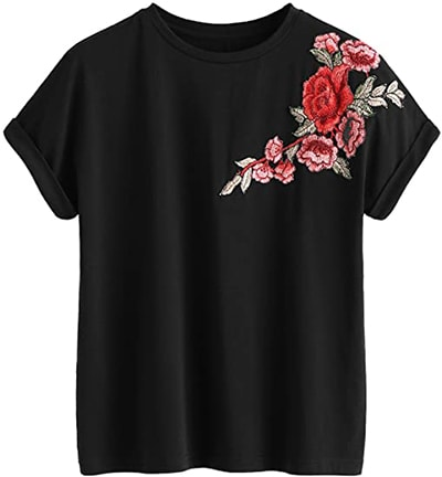 Tops to hide your tummy - Romwe floral embroidery cuffed tee | 40plusstyle.com