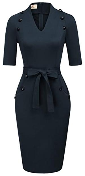 Grace Karin belted pencil dress | 40plusstyle.com